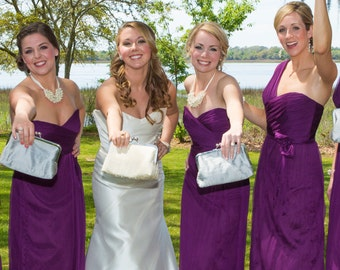 Bridesmaid Clutch Gift Custom Silk Silver Purple Wedding Bags Customize Your Own Set Clutch Purse Personalized Bridal Party Handbags Clutch