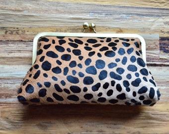 SALE Genuine Fur Calf Hair AnimalPrint Clutch Purse Bridesmaid Gift Leather Clutch Handbag Bag Handmade Hobo Bohemian Christmas Gift