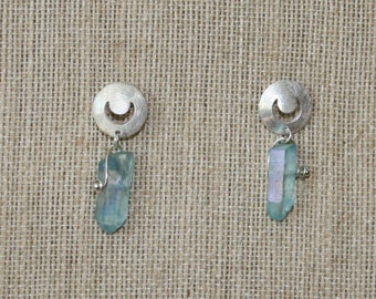 Blue Moon Auqa Aura Crystal Points & Sterling Silver Moon Earrings plus Free USA Shipping!