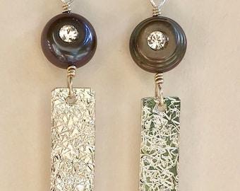Sterling Silver earrings with genuine pearls - bar earrings - handstamped - pearls with swarovski crystal