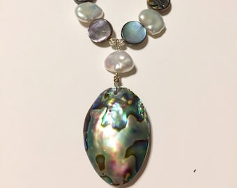 Abalone and Pearl Necklace - Shell Jewelry - Beach Jewelry - Abalone Pendant - Sterling Silver