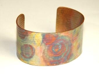Large Copper Cuff - Medicinal Copper - Heat Patina - rustic jewelry - Healing Jewelry - Large Cuff