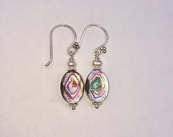 Abalone and Pearl dangle earrings with Sterling Silver, Short Earrings, Shell Earrings, Faceted Abalone