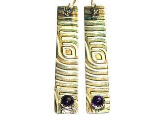 Long Sterling Silver Bar Earrings - Hand Stamped Earrings - Purple Amethyst Jewelry - Rustic Jewelry