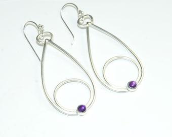Purple Amethyst Earrings - February Birthstone - Purple Gemstone - Long Dangle Earrings - Modern - Geometric