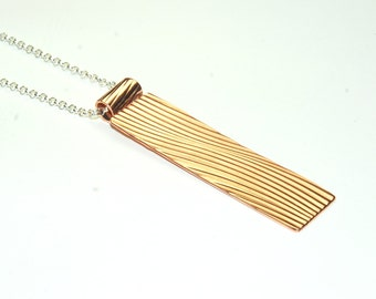 Mixed Metal Necklace - Modern Jewelry - Long Necklace - Copper Rectangle Necklace - Metalwork