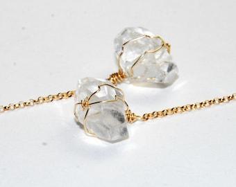 Crystal Quartz Earrings  - Long Earrings - Shoulder Duster - Natural Stone Earrings - 14K Gold Fill - Wire Wrapped