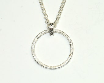 Sterling Silver Circle Necklace, hammered circle, open circle , minimalist, simple jewelry, circle of life