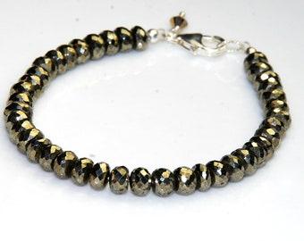 Pyrite Gemstone Bracelet - Layering Bracelet - Metallic Jewelry - New Years Jewelry