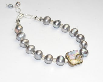 Pearl and Abalone Bracelet with Sterling Silver - Beach Jewelry - Silver Pearls -Shell Jewelry
