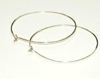 Sterling Silver Hoop Earrings - Hammered Sterling Silver - Medium Hoops - Simple Earrings