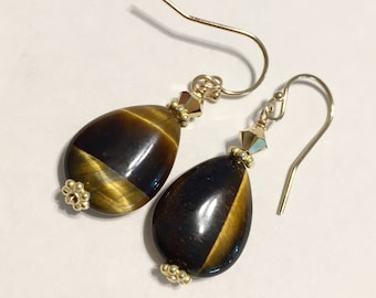 Tigers Eye Earrings in 14K Gold fill - Tiger Eye Gemstone - Brown and Gold