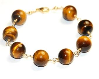 Tiger's Eye Beaded Bracelet - Tigers Eye  - 14K Gold Filled Jewelry - Golden Brown wire wrapped Gemstone