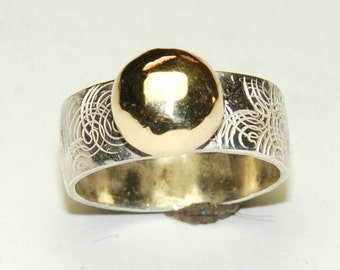 Mixed Metal Ring - Size 5 Ring - Sterling Silver and Brass - Modern Wedding Ring - Spirals - Wide Band Ring