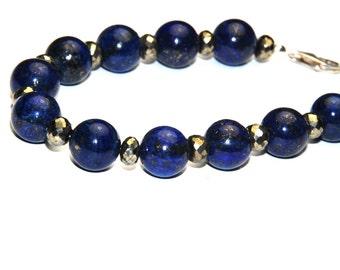 Lapis Lazuil and Pyrite Bracelet - Blue Bracelet - Beaded Bracelet - Gemstone Bracelet