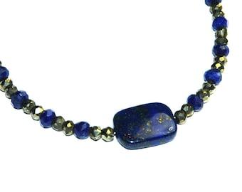 Lapis Lazuli and Pyrite Bracelet - Blue Metallic Bracelet, Natural stone jewelry, Gemstone stacking bracelet