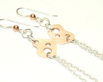 Mixed Metal Earrings - Long Earrings - Sterling Silver and Copper - Chain Earrings - Modern