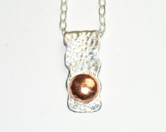 Mixed Metal Necklace - Sterling Silver and Copper Pendant - Long Necklace - metalwork - unique