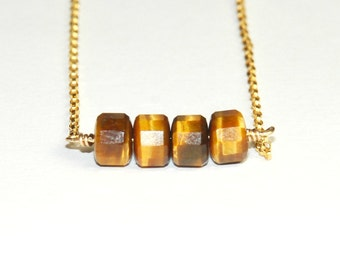 Tigers Eye necklace - Bar or Trapeze necklace - Brown and Gold - simple - layering - dainty necklace
