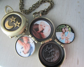 To the moon and back, Four picture locket, 4 way locket,family locket, four way locket, couples locket, engraved locket, quote locket
