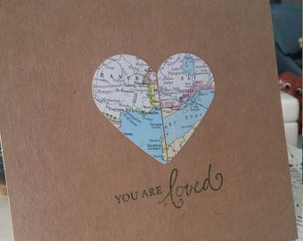 Long distance relationship card etsy long distance relationship custom two maps in one anniversary you are loved blank card m4hsunfo