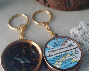 Custom compass with two vintage maps with custom quote