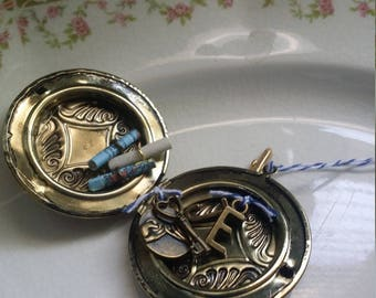 Locket keepsake ornament with two maps and custom message pinky promise charm key to my heart