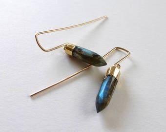 Labradorite Arrow Earrings, Modern Earrings, Geometric, Hammered Gold, Labradorite, Statement Earrings, Labradorite Bullet Spike, m frances