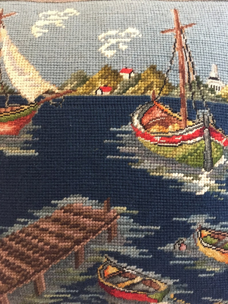 Decorator Needlepoint Pillow Cover Boats in the Harbor