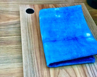 White Oak wooden cutting board + hand towel gift set. Holiday and kitchen gift set.