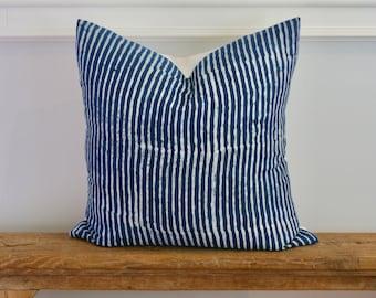 "Indigo Batik Stripe Pillow Square. Nautical Beach House. Bohemian Home Decor 18"" x 18"""