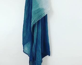 Large Indigo Scarf. Organic Cotton. Ombre Blue Shawl