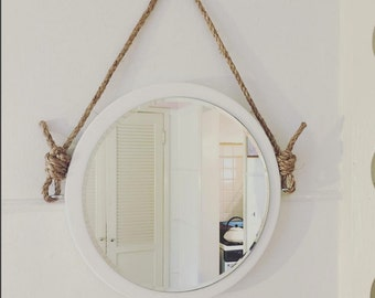 "16"" Round Mirror. Nautical Mirror. Boathouse Mirror. Natural Rope. Summer Beach House. Nautical Decor."