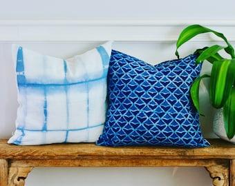 "Indigo Shibori Pillowcase. Blue and White Pattern. Cotton Linen Pillowcase. Square Pillow. Home Decor. 18"" x 18"""