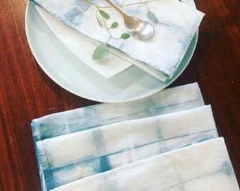 Set of 4 Indigo Shibori Napkins Hand-dyed Organic Cotton
