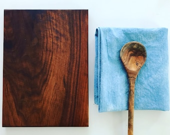 Walnut wooden cutting board + hand towel gift set. Holiday and kitchen gift set.