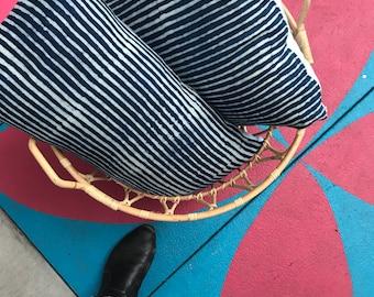 Natural Indigo blue and white stripe lumbar pillowcase -Batik Linen Designer Pillowcase, Luxury Throw Pillow. Home decor.