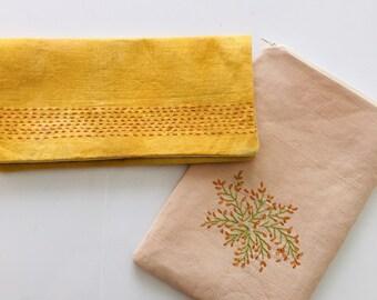 Hand Dyed Marigold Embroidered Clutch. Bridal Fashion. Bridesmaid Gift, Handmade Eco-fashion.