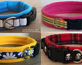 Various Colours Personalised Embroidered Paw Print Fleece Lined Dog Collars