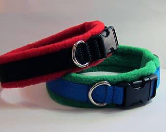 MEDIUM Width Fleece Padded Dog Collar (made to measure)