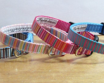 """Striped Pattern Dog Collar - 3/8"""" width for small / tiny dogs / puppies"""