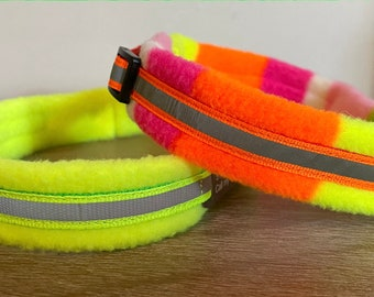 NARROW Width - Reflective Safety Colours - Padded Dog Collar - small / tiny dogs