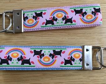 Scotties and Rainbows  Keyring -  Scottish Terrier, Scottie, Scotty, Scottie dog (key-chain / key-fob)