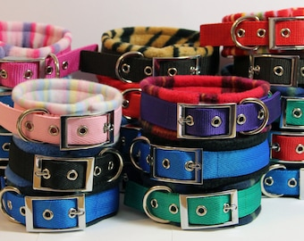 WIDE Width Fleece Padded Buckle/Eyelet Dog Collar - Larger dogs/sighthounds (made to measure)