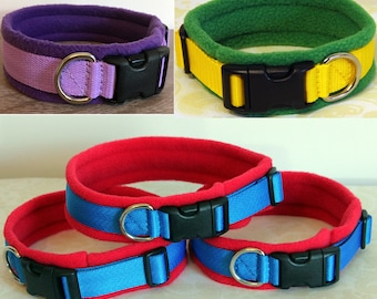 WIDE Width Fleece Padded Dog Collar - Large dogs (made to measure) Quick Release