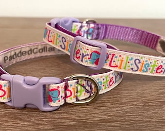 """Big Sister or Lil Sister Pattern Dog Collars - 3/8"""" width for tiny dogs /chihuahuas/puppies"""