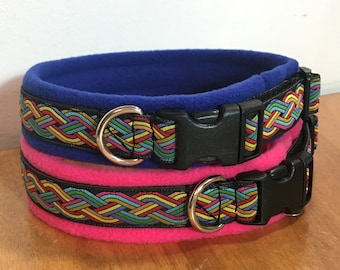 MEDIUM width BROCADE Padded Patterned Dog Collars - (made to measure) Lots of patterns
