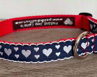 "Navy Hearts Pattern Dog Collar 3/4"" width."