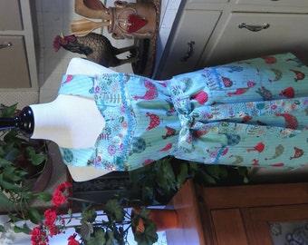 Full Bib Apron / Whimsical Chickens  - Ric Rak Trim & Fabulous Contrasting Fabric