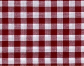 """Berry Gingham Fabric by the yard half yard 60"""" wide width 1/4"""" checks Quarter Inch Gingham Wine Brick Red Raspberry richcheck check material"""